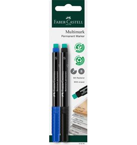 Faber-Castell - Multimark marker permanent, S, blister card of 2, blue/black