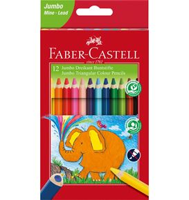 Faber-Castell - Jumbo Triangular colour pencils, wallet of 12