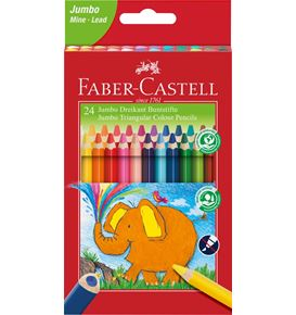 Faber-Castell - Jumbo Triangular colour pencils, wallet of 24