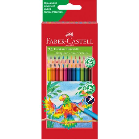 Faber-Castell - Triangular colour pencils, cardboard wallet of 24