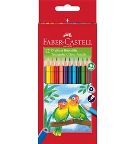 Faber-Castell - Triangular colour pencils, wallet of 12 with sharpener