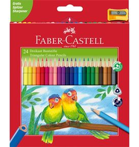 Faber-Castell - Triangular colour pencils, wallet of 24 with sharpener
