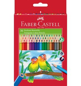 Faber-Castell - Jumbo Triangular colour pencils, wallet of 36 with sharpener