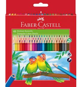 Faber-Castell - Triangular colour pencils, wallet of 48 with sharpener