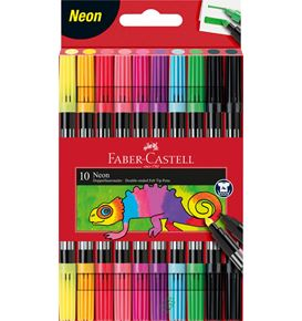 Faber-Castell - Double-ended felt tip pen, neon, cardboard wallet of 10