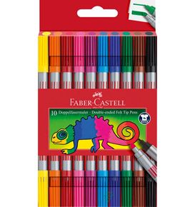 Faber-Castell - Double-ended felt tip pen, cardboard wallet of 10