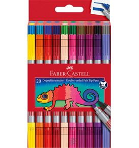 Faber-Castell - Double-ended felt tip pen, plastic wallet of 20