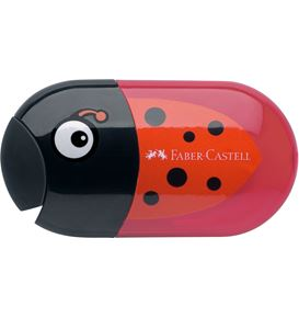 Faber-Castell - Animal motif twin sharpening box with eraser, motif ladybird