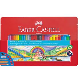 Faber-Castell - Colouring set Connector felt tip pen in a tin, 53 pieces