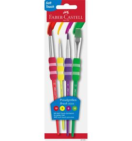 Faber-Castell - Brush with soft touch grip area, 4 sizes on blister card