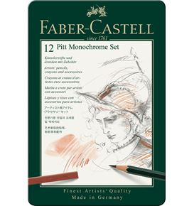 Faber-Castell - Pitt Monochrome set, tin of 12