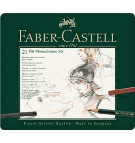 Faber-Castell - Pitt Monochrome set, tin of 21