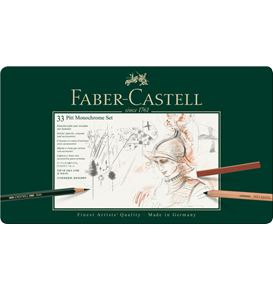 Faber-Castell - Pitt Monochrome set, tin of 33