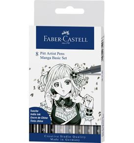 Faber-Castell - Pitt Artist Pen India ink pen, wallet of 8, Manga Basic set