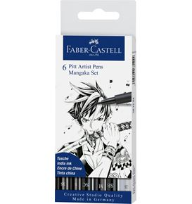 Faber-Castell - Pitt Artist Pen India ink pen, wallet of 6, Mangaka