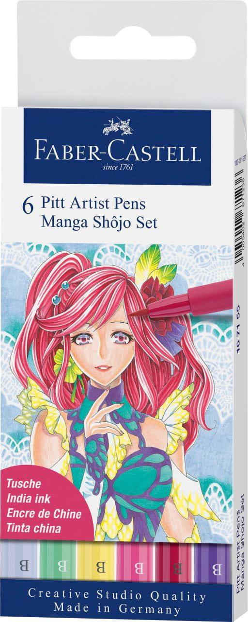 Drawing Skin /& Hair Pitt Artist Pen Wallet of 6 Faber-Castell Manga Kaoiro