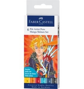 Faber-Castell - Pitt Artist Pen Brush India ink pen, wallet of 6, Shônen