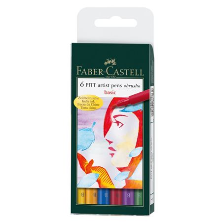 FABER-CASTELL 6 PITT ARTIST PENS VARIOUS COLOURS SOFT BRUSH