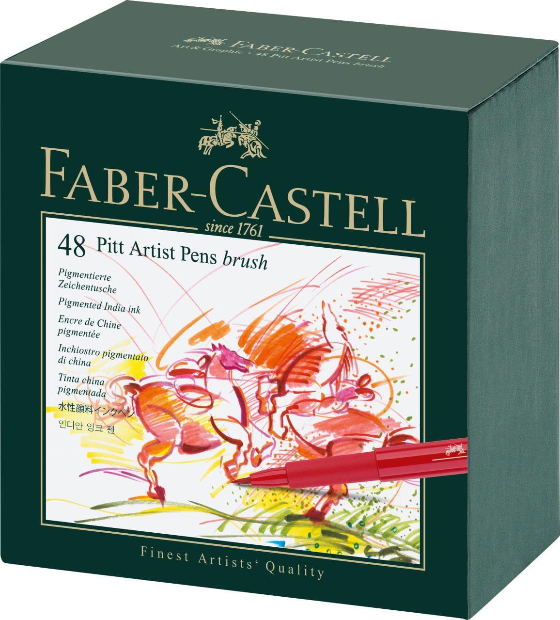 Faber-Castell - Pitt Artist Pen Brush India ink pen, studio box of 48
