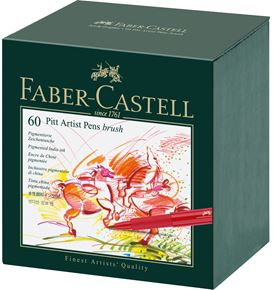 Faber-Castell - India ink Pitt Artist Pen Brush studio box of 60
