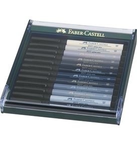 Faber-Castell - Pitt Artist Pen Brush India ink pen, set of 12, Grey tones