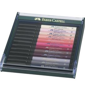 Faber-Castell - India ink Pitt Artist Pen Brush 12ct set portrait colours