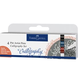 Faber-Castell - Pitt Artist Pen Calligraphy India ink pen, set of 4, classic