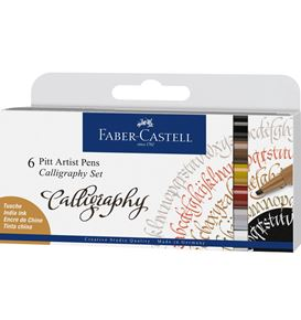 Faber-Castell - Pitt Artist Pen Calligraphy India ink pen, set of 6