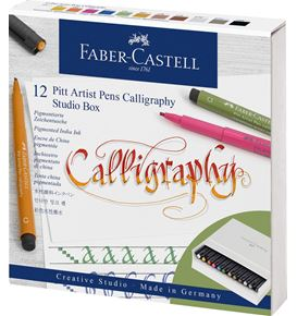 Faber-Castell - Pitt Artist Pen india ink pen Calligraphy, studio box of 12