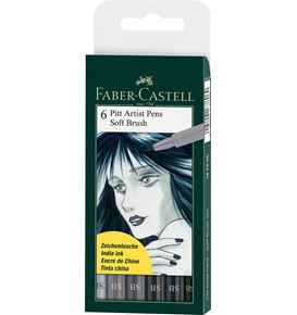 Faber-Castell - India ink Pitt Artist Pen Soft Brush Grey wallet of 6