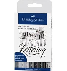 Faber-Castell - India ink Pitt Artist Pen Hand Lettering starter kit 9ct set