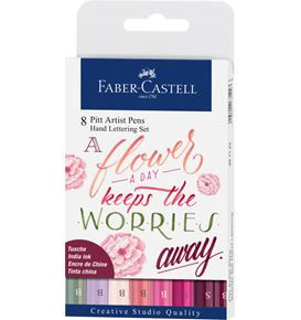 Faber-Castell - Pitt Artist Pen India ink pen, wallet of 8 Lettering, Pinks