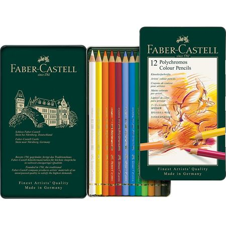 Faber-Castell - Colour Pencil Polychromos tin of 12