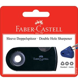 Faber-Castell - Sleeve twin sharpening box, red/blue/black