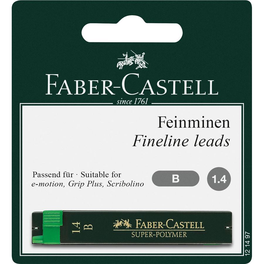 Faber-Castell - Spare pencil leads, 1.4 mm, B (12 pieces)