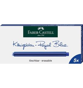 Faber-Castell - Ink cartridges, long, 5x royal blue erasable