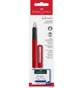Faber-Castell - School+ fountain pen, red on blister card