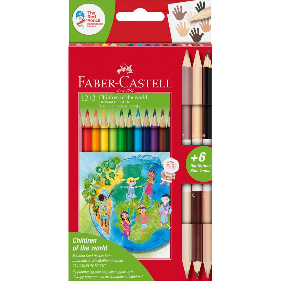 Faber-Castell - Children of the World colour pencil triangular 12+3