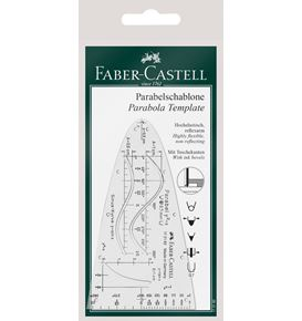 Faber-Castell - Parabola template, clear plastic, with protection sleeve