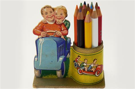 Pencil cases with decorative figures
